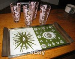 Lot 4 Vintage Starburst Atomic Pastel High Ball Glasses & Tray Fred Press Signed