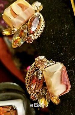 Lot Of Vintage Designer Signed High End Costume Jewelry Florenza Lisner Sarah Co