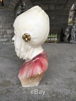 Lovely Antique Alabaster And Marble Large Bust Of Girl Signed Highly Detailed