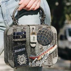 MARY FRANCES Mile High Suitcase Travel Bag Handbag Beaded Grey Signed NEW
