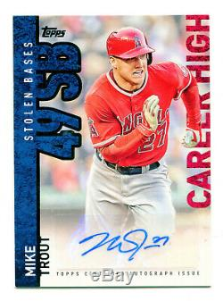 MIKE TROUT 2015 Topps Career High Auto Autograph Signature Signed Card AU SP