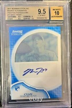 MIKE TROUT RC 2011 Bowman Sterling AUTO HIGH SUBS PRINTING PLATE 1of1 HOLY GRAIL