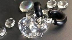 MONIES, EBONY and LUCITE EARRINGS. Signed, HIGH FASHION. NEW