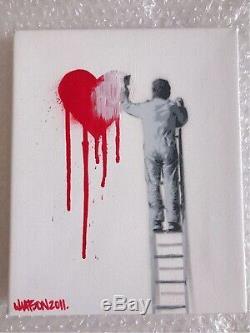 Martin Whatson HIGH UP 2011 Stencil Spray Paint Mini Canvas Art with COA Sticker
