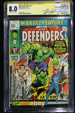 Marvel Feature The Defenders #1 CGC 8.0 STAN LEE SIGNED! (Marvel) HIGH RES SCANS