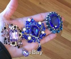 Massive Vintage Brooch Lot High End Rhinestones Signed/unsigned Monet LC GF