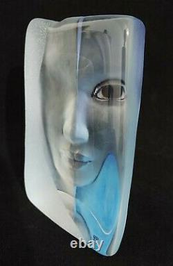 Mats Jonasson Swedish Crystal Glass Blue Woman's Face Sculpture 5.25 High