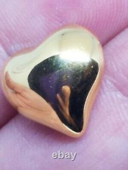 Milor Italy 14k Yellow Gold High Polish Puffy Heart Stud Earrings