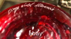 Murano Arte DV Diego Vidal Vase Glass Art Amber Red SIGNED By Artist 7 High