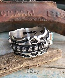 NAVAJO Harry Begay High Grade Kingman Turquoise & Sterling Cuff Signed