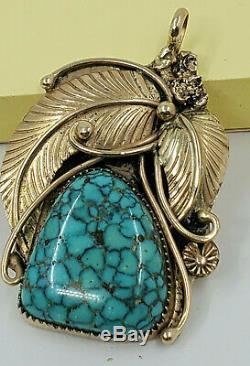NAVAJO Signed Martin M 14K Gold High Grade Spider Web Turquoise Pendant
