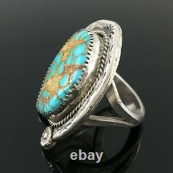 Native American Navajo Sterling Silver & High Grade Spiderweb Turquoise Ring