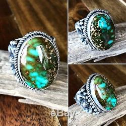 Navajo Albert Jake High Grade Royston Turquoise & Sterling Ring Sz 13 Signed