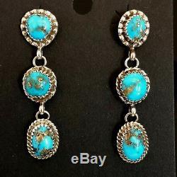 Navajo Natural Morenci turquoise earrings pyrite TByrd AJ high grade 3040