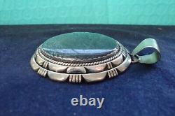 Navajo Sterling Silver High Grade Turquoise Pendant, Signed, 51 gr