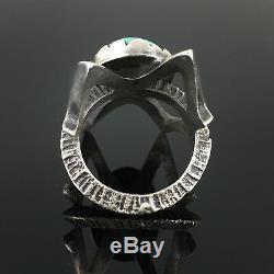Navajo Tufa Cast Sterling Silver High Grade Turquoise Ring Matthew White