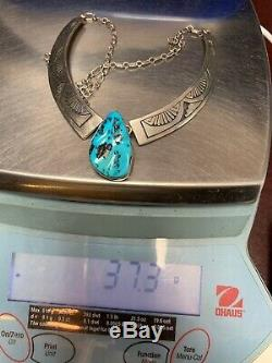 Navajo or Hopi Overlay Necklace with High Grade Sleeping Beauty Turquoise SIGNED