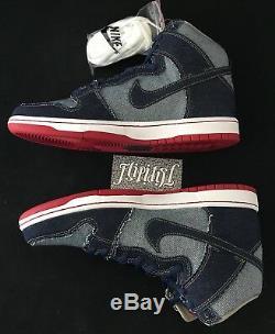 New Auto Signed Nike Sb Dunk High Trd Qs Denim Forbes Blue Pigeon Rare Sz 10.5