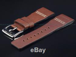 New OEM Glycine AIRMAN 30MM High Grade Leather Strap W Signed SS Polished Buckle