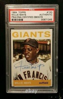 Nice! WILLIE MAYS Autographed 1964 Topps #150 Signed HOF PSA DNA Auto HIGH END