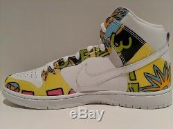 Nike Dunk High SB QS De La Soul White Firefly Yellow Size 11.5 748751 117 Signed