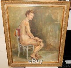 Nude Woman With High Heel Original Oil On Board Painting Unsigned