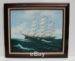Oil painting on canvas, seascape, Sailing Ship in the High Sea, Signed, Framed