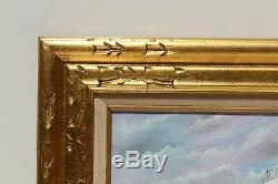 Oil painting on canvas, seascape, Sailing ship on the high seas, Signed, Framed