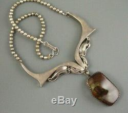 Old Navajo Foliate Sterling High Quality Fire Agate Necklace Signed 60 Grams