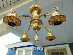 Original Victorian-Art Deco High Quality Gold Ceiling Light Fixture Signed Nice