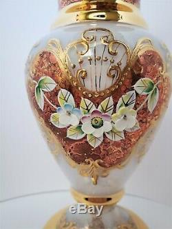Pair Gold & White Bohemian Crystal High Enameled Mantle Vase Signed Ltd Ed 8