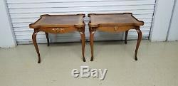 Pair High End Baker Card Tables Vintage Burl Wood Table Signed Baker Furniture