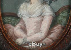 Portrait of a fashionable lady, high quality large miniature, 1785/90
