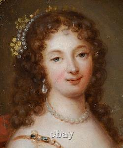 Portrait of a young lady, high quality French oil on brass miniature, 1635