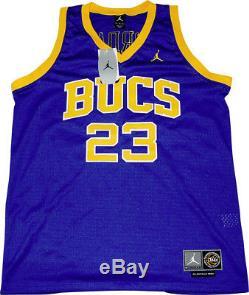 312ec069086 RARE Michael Jordan Blue LANEY BUCS HIGH SCHOOL Jersey Signed! 10/10  Signature