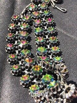 RARE Signed Vendome High End Designer Watermelon Multicolor Rhinestone Necklace