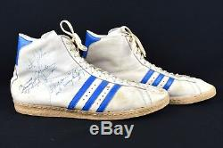 RARE! Vintage ADIDAS High Top Shoes 70's Signed Detroit Pistons Basketball 19