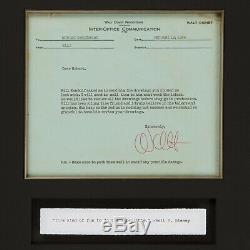 Rare 1956 Walt Disney Signed Memo Complete With High End Frame