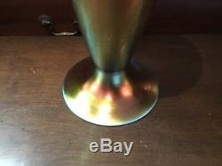 Rare Antique 12 High Authentic & Signed Steuben Aurene Large Swirl Vase No Rese