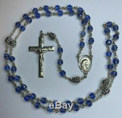 Rare High End Vintage Sterling Signed Double Capped Blue Rosary Necklace 31