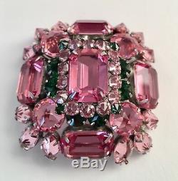 Rare signed Schreiner New York Huge High Domed Pink Brooch