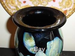 Robert Eickholt Art Glass Signed 2001 Vase 10 High Magnificent Rich Colors