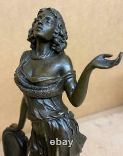 Russian Bronze Sculpture of a Lady by Chair High Heels Signed