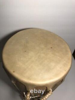 SIGNED Cochiti Pueblo Drum with Drumstick by Gabe Yellowbird Trujillo 13 High