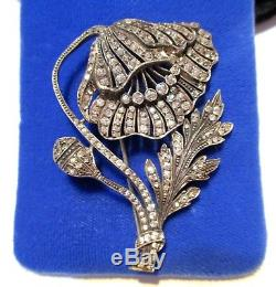 STUNNING Antique HIGH ART DECO 935 Silver PASTE BRILLIANT POPPY PIN signed WK