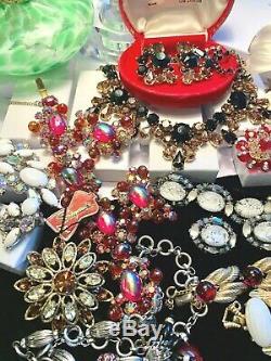 Schiaparelli High End Rhinestone Jewelry Lot Signed Jewelry 5 Set's 14 Pcs
