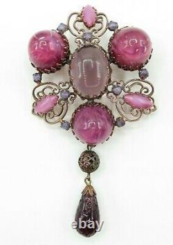 Schreiner High Dome Art Glass Pink Purple Statement Dangle Brooch Pendant Signed