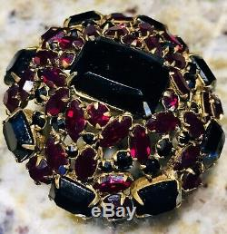 Schreiner NY Ruby Red Garnet Brooch Pin Rare Vintage High Domed Prong Set Signed