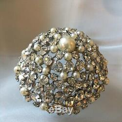 Schreiner NY Signed Brooch/pin Pearl and Clear Rhinestone Highly Domed Vintage