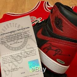 Signed 2016 Nike Air Jordan 1 High Banned 1985 Rookie Retro Shoes Autograph Uda